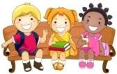 8230089-illustration-mettant-en-vedette-trois-mignons-petits-enfants-assis-sur-un-banc