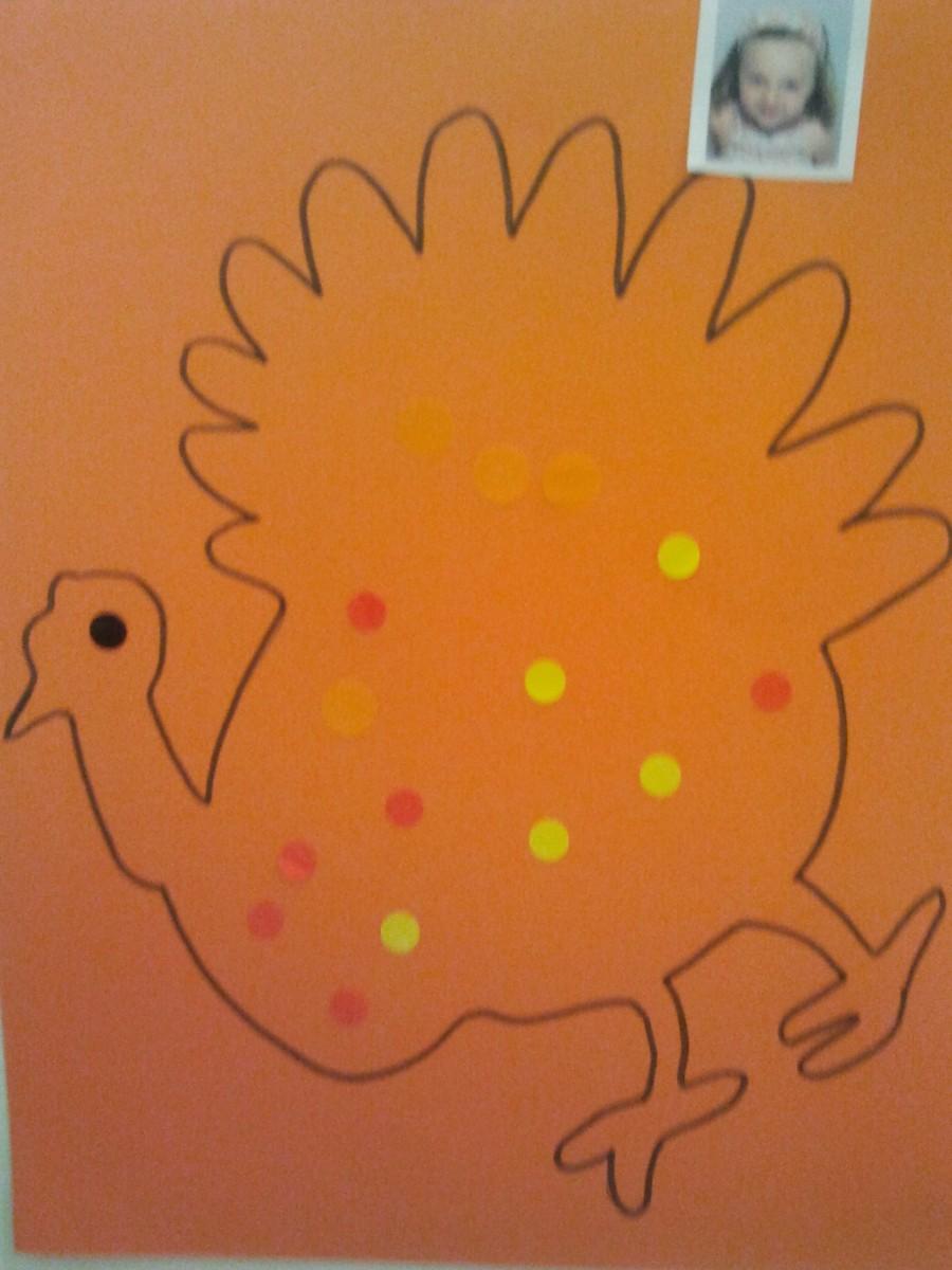 Dessin de dinde avec gommettes pour Thanksgiving
