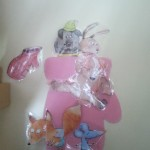 Moufle cousue avec ses animaux plastifiés