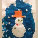 Tableau d'hiver avec bonhomme de neige