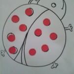 dessin de coccinelle et gommettes