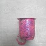pot de yaourt peint,vernis et pailleté