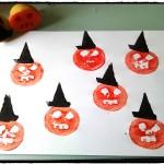 Halloween-citrouilles avec chapeau de sorcière