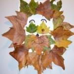 Activité manuelle d'automne: fabriquer un lion avec des feuilles d'arbres