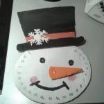 Calendrier de l'avent en forme de bonhomme de neige