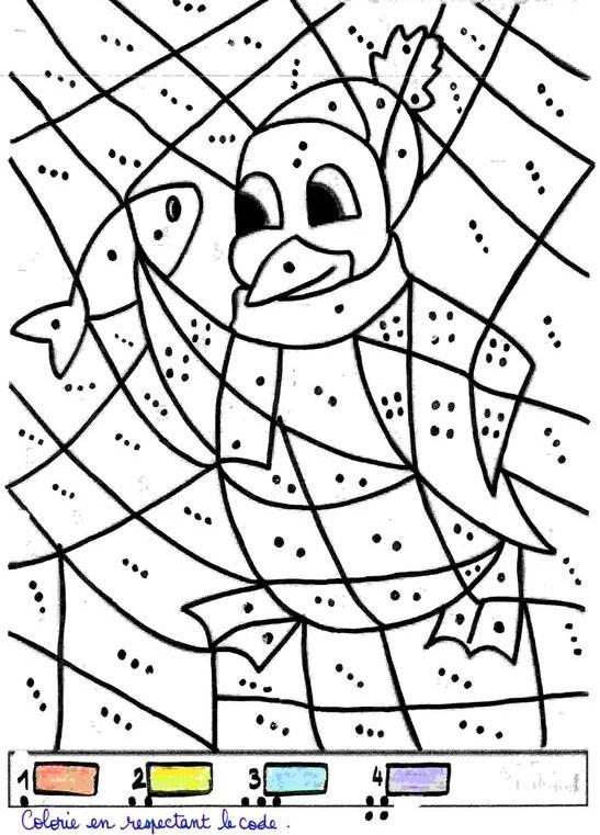 Coloriage pingouin éducatif pour apprendre à compter