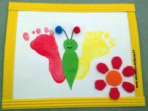 activit cr ative peinture papillon r alis avec les empreintes de pied des enfants education. Black Bedroom Furniture Sets. Home Design Ideas