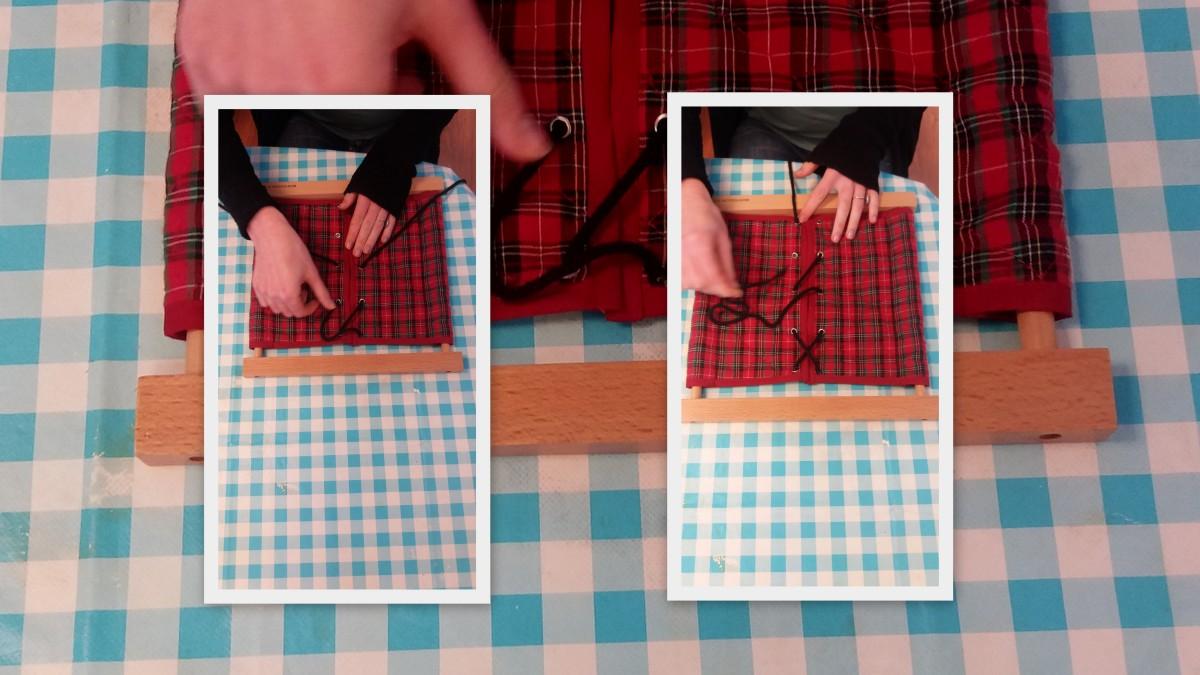 Activité Montessori de vie pratique-Soins de la personne-Le cadre à lacets (Première présentation dès 4 ans)