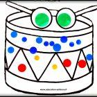 Activité manuelle musicale :Coller gommettes sur un tambour (Dès 2 ans)