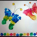 Activité manuelle- peinture-papillon avec les empreintes d'enfants