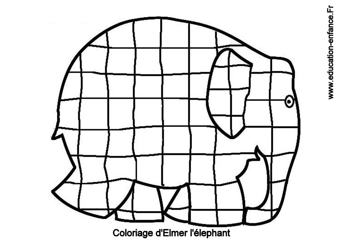 Coloriage d'Elmer - education-enfance.fr