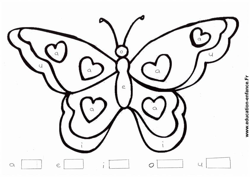 Coloriage papillon pour apprendre les lettres