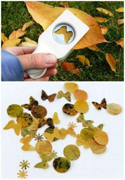 Activité d'automne pour enfant: perforer feuilles d'automne