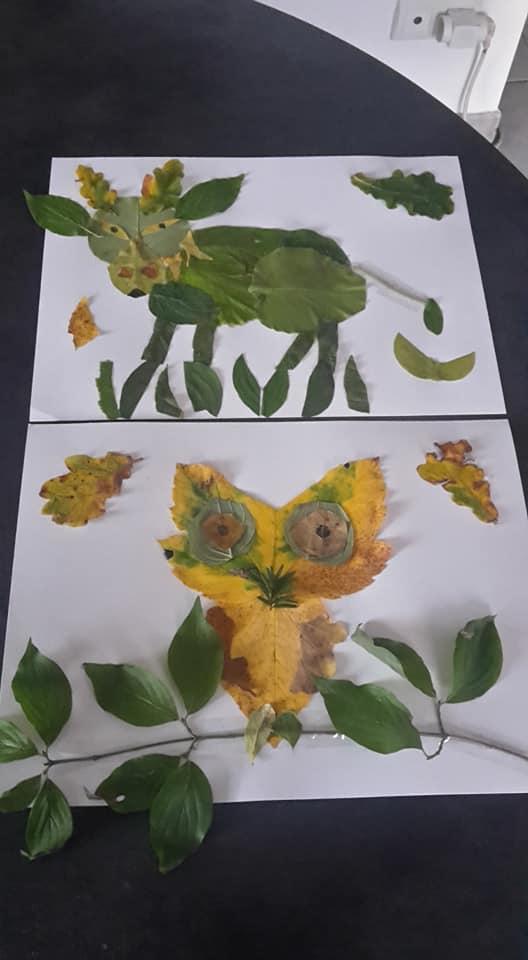 Collage de feuilles d'automne:animaux et chouettes