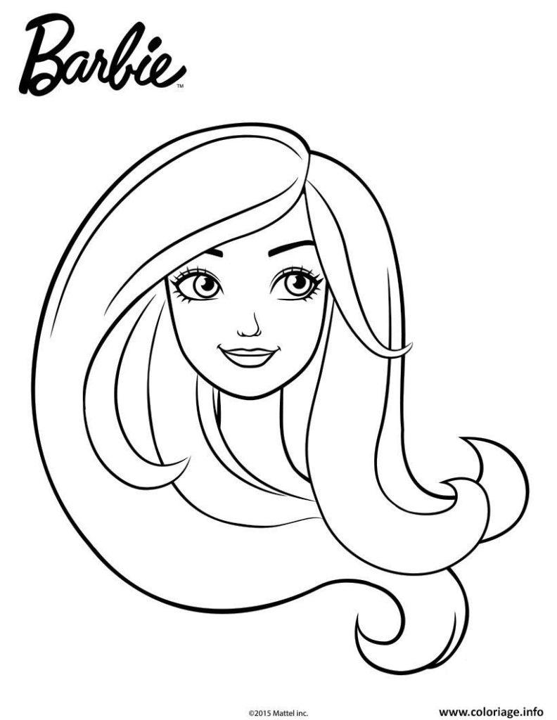 Coloriage Barbie En Portrait Facile Fille Dessin Concernant
