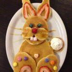 Goûter rigolo en forme de lapin pour Pâques avec des Pancakes