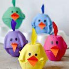 Poussins de pâques à fabriquer avec une boite à œuf