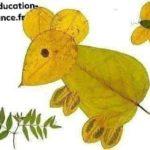 activité d'automne: souris en feuilles d'automne