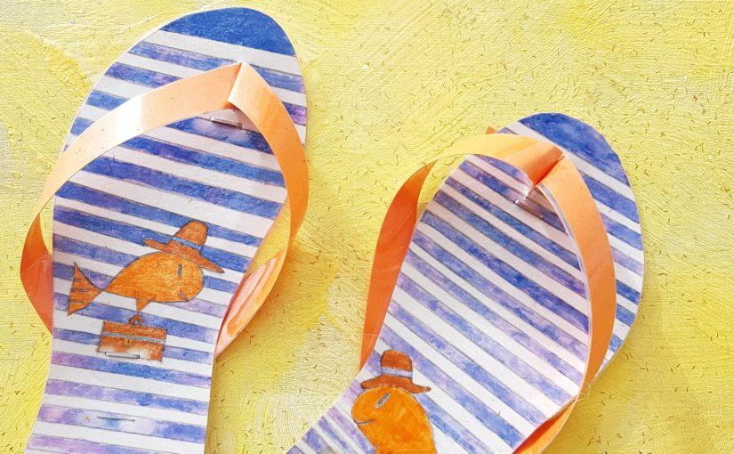 Activité manuelles à fabriquer avec les enfants l'été: les tongs de plage