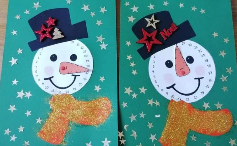 Calndrier de l'avent Bonhomme de neige à fabriquer