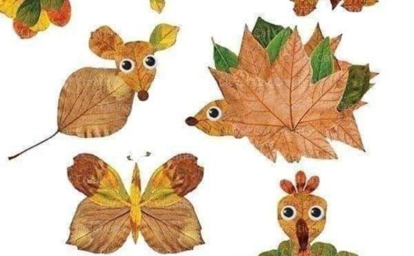 activité manuelle d'automne: animaux en feuilles d'automne