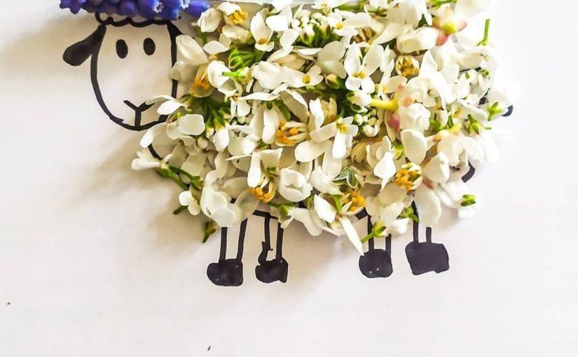 collage pour enfant de fleurs animaux visage personnages
